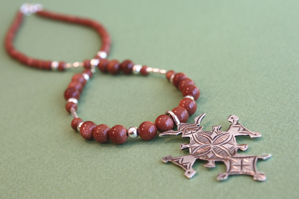 Sterling Silver Croix du Sud with Goldstone Beading