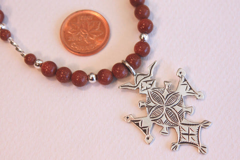 Sterling Silver Croix du Sud with Goldstone Beading size reference