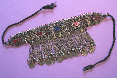 Tribal Choker with Coin Chain Fringe