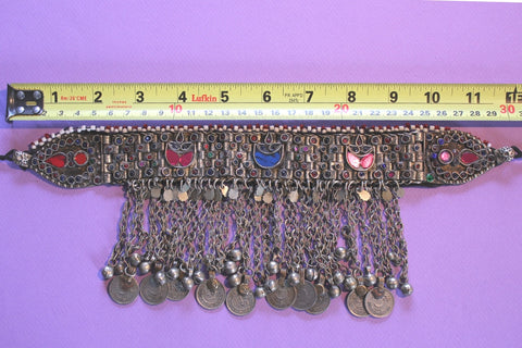 Kuchi Tribal Choker with Long Coin Chains length