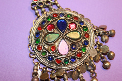 Colorful Kuchi Pendant with Small Bells close up