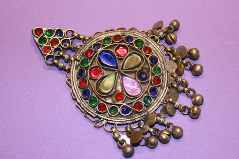 Colorful Kuchi Pendant with Small Bells