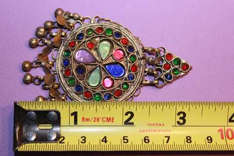 Colorful Kuchi Pendant with Small Bells size reference