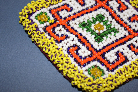 Diamond Medallion with Bold Orange Pattern close up