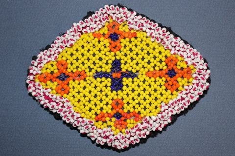 Diamond Shaped Beaded Medallion in Yellow