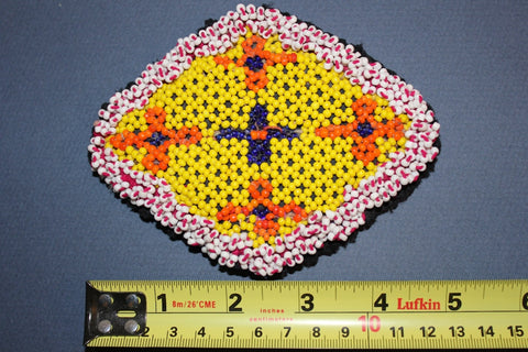 Diamond Shaped Beaded Medallion in Yellow size reference