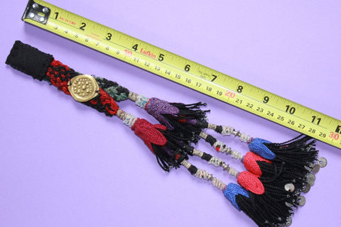 Vintage Beaded Double Tassel with Metal Amulet size reference