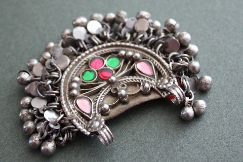Kuchi Tribal Pendant with Glass Gems and Charms side view