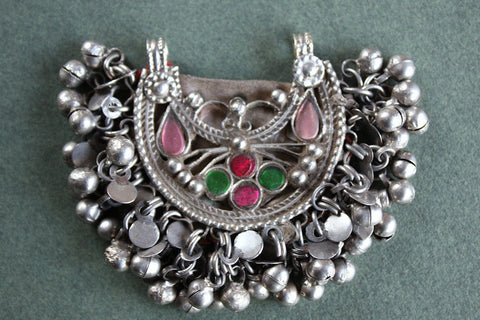 Kuchi Tribal Pendant with Glass Gems and Charms