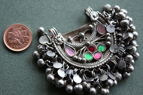 Kuchi Tribal Pendant with Glass Gems and Charms size reference