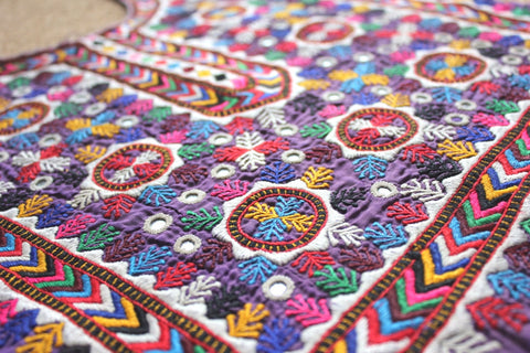Embroidered Tribal Dress Front / Yoke with Mirrors close up