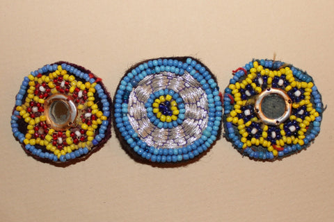 Embroidered Tribal Patches with Beading and Mirrors close up