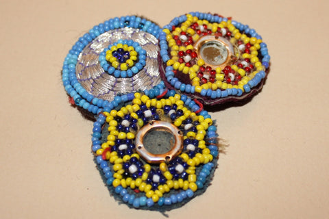Embroidered Tribal Patches with Beading and Mirrors close up 2