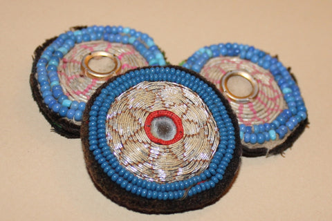 Faded Metallic Embroidery with Blue Beading close up 2
