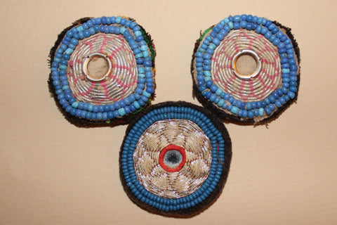 Faded Metallic Embroidery with Blue Beading