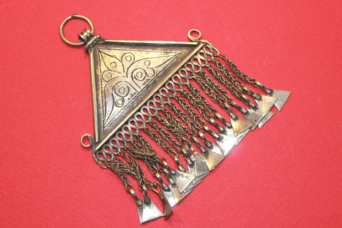 Gleaming Silver Triangular Tribal Pendant