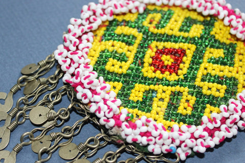 Green and Yellow Medallion with Chain Fringe close
