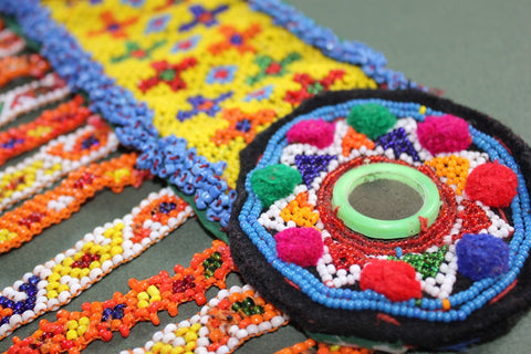 Colorful Heavily Beaded Belt Base top close up
