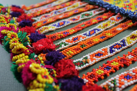 Colorful Heavily Beaded Belt Base bottom close up