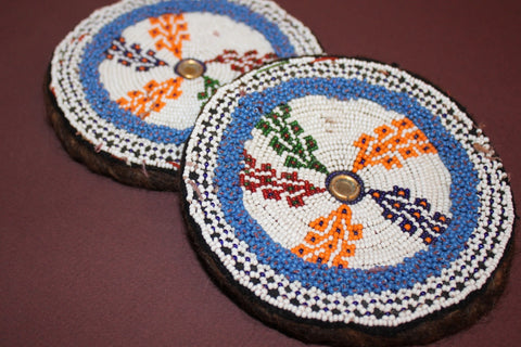 Large Colorful Beaded Medallions close up