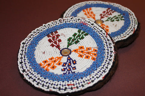 Large Colorful Beaded Medallions close up 2