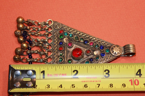 Large Triangular Kuchi Tribal Pendant size reference