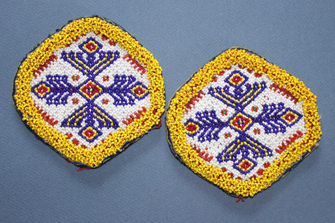Matching Pair Large White Medallions