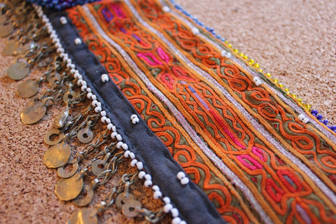Embroidered Tribal Belt with Chain Fringe close up