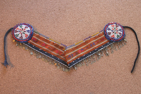 Embroidered Tribal Belt with Chain Fringe