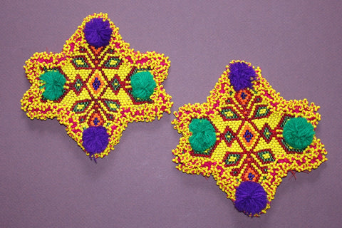 Star Shaped Pair of Beaded Medallions
