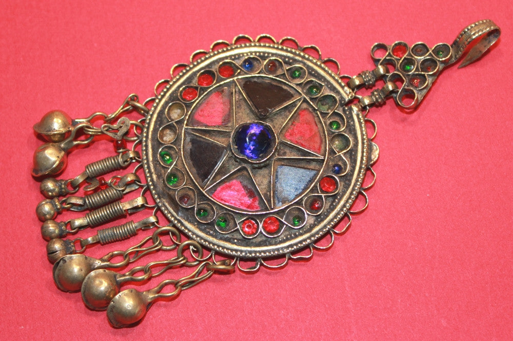 Round Pendant with Blue and Red Glass Star Motif