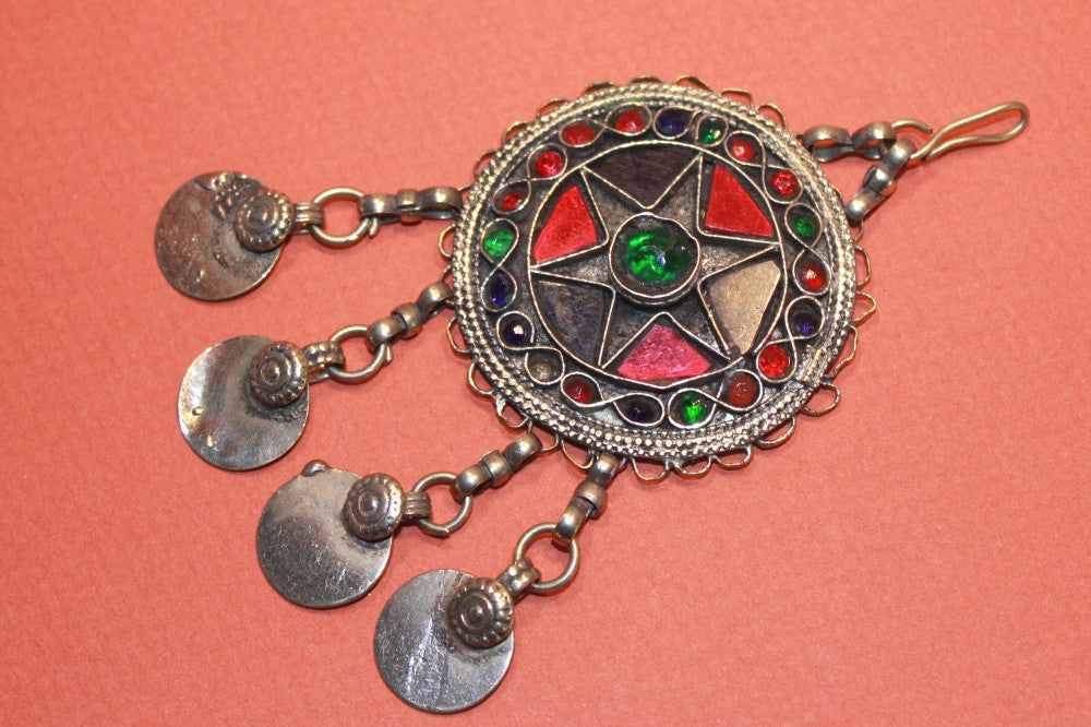 Round Kuchi Pendant with Coin Dangles