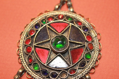 Round Kuchi Pendant with Coin Dangles close up