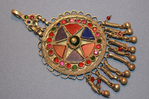 Round Pendant with Red and Blue Glass Star Motif