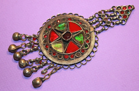 Round Kuchi Pendant with Red and Green Glass