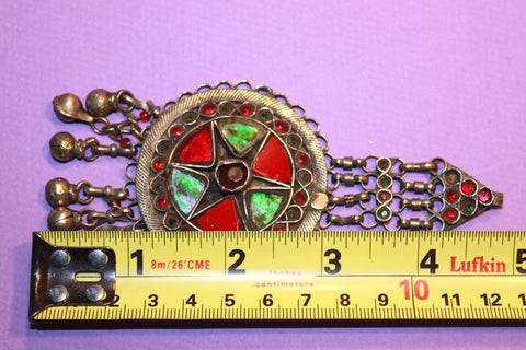 Round Kuchi Pendant with Red and Green Glass size reference