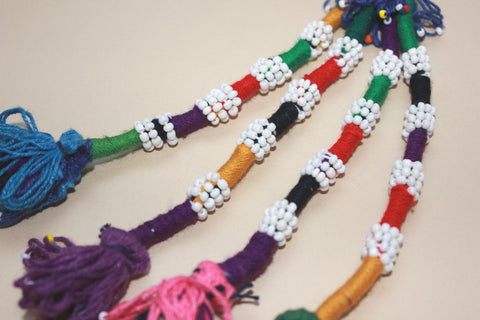 Colorful Beaded Cotton Tassel with Blue Top close up