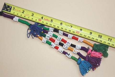 Colorful Beaded Cotton Tassel with Blue Top size reference