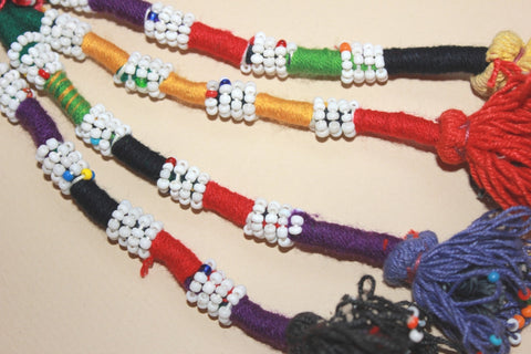 Beaded Colorful Cotton Tassel with Red Top close up