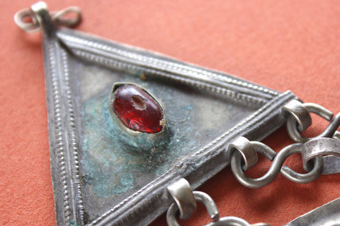 Small Turkoman Pendant with Red Carnelian close up of stone
