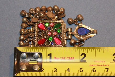 Square Tribal Pendant with Many Tiny Charms size reference
