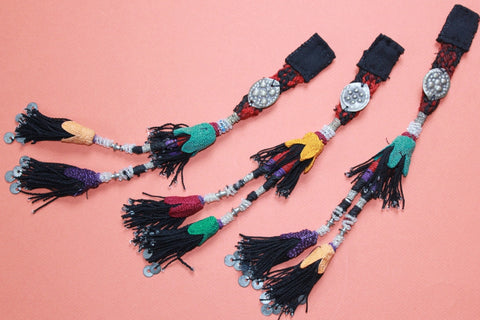 Vintage Beaded Tassel Trio with Metal Amulets
