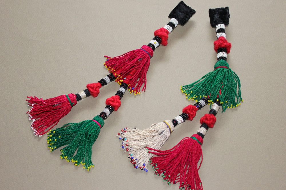 Vintage Pair of Turkoman Tassels with Beaded Accents