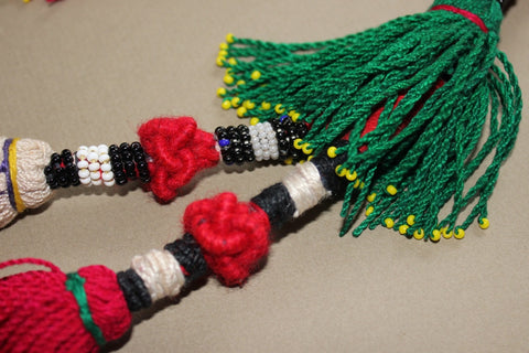 Vintage Pair of Turkoman Tassels with Beaded Accents close 2