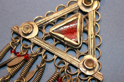 Triangular Pendant with Long Chain Fringe close up
