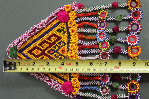 XL Tribal Patch with 17 Beaded Dangles length
