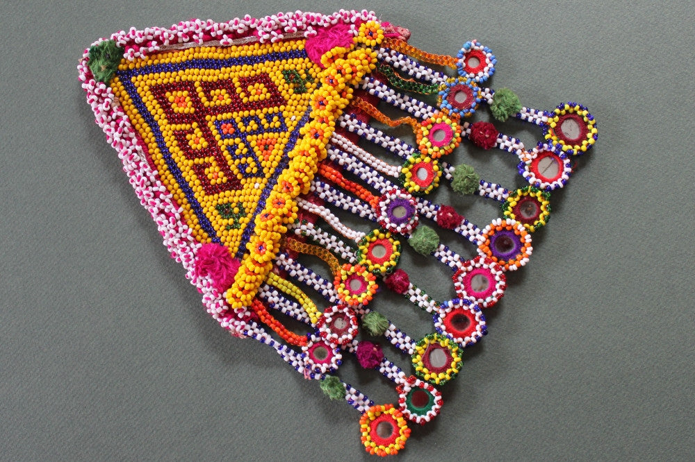 XL Tribal Patch with 18 Hanging Beaded Mirrors