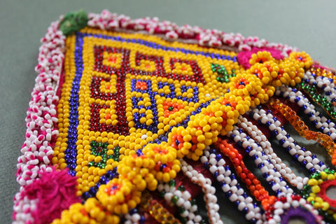 XL Tribal Patch with 18 Hanging Beaded Mirrors close up