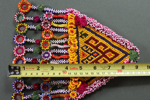 XL Tribal Patch with 18 Hanging Beaded Mirrors length