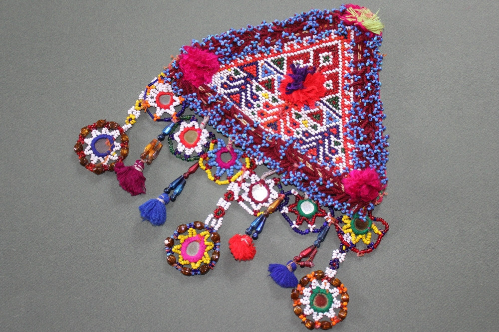 Tribal Patch with 3 Long Mirrored Dangles and Tassels